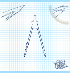 Drawing compass line sketch icon isolated on vector