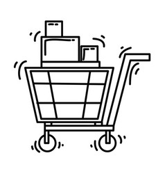 e-commerce chart hand drawn icon set outline vector image