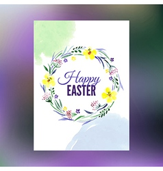 Easter greeting card watercolor hand drawn vector