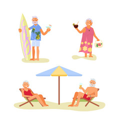 elderly people characters relaxes on a sea beach vector image