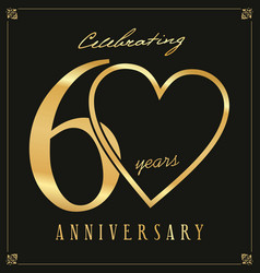 Elegant black and gold anniversary background 60 vector