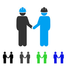 Engineer persons handshake flat icon vector