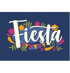 Fiesta lettering handwritten with elegant cursive vector