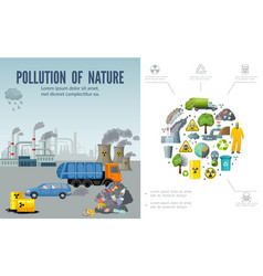 flat climate pollution composition vector image
