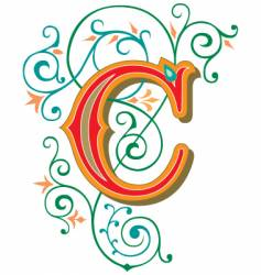 floral letter c vector image vector image