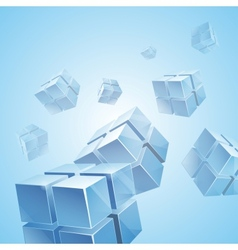 Flying blue transparent cubes background vector