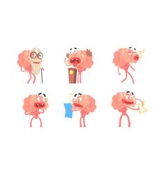 funny brain cartoon character set humanized brain vector image