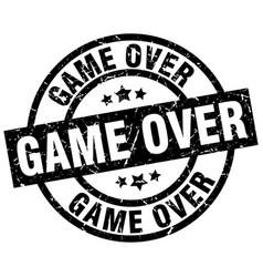 Game over round grunge black stamp vector