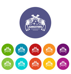 Gangsters icons set color vector