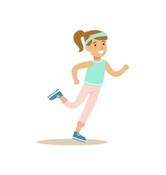 Girl Running Kid Practicing Different Sports And vector image