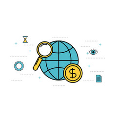 globe world magnifier money business vector image