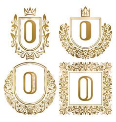 golden vintage monograms set heraldic logos o vector image