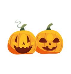 halloween mascot pumpkins celebration decoration vector image
