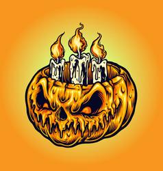 halloween pumpkins candle light vector image
