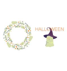 Happy halloween set frame circle of vector
