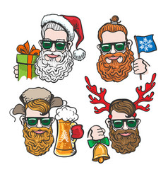 hipsters with christmas accessories vector image