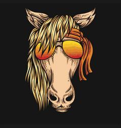 horsehorse eyeglasses bandana vector image