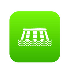 Hydroelectric power station icon digital green vector