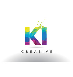 ki k i colorful letter origami triangles design vector image