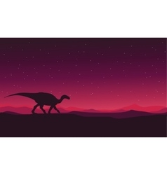 Landscape Iguanodon silhouettes vector image vector image