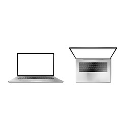 laptop computer front and top view vector image