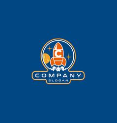 Letter c rocket logo design vector