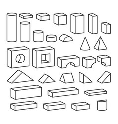 Line style blocks toy details for coloring book vector