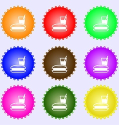 lunch box icon sign A set of nine different vector image