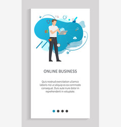 online business globe innovation worker vector image