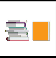 Orange book and pile pf vector