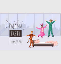 Pajama party flat banner template vector
