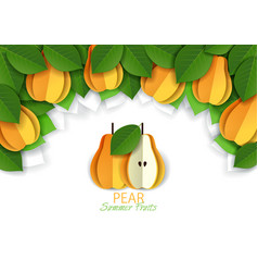Paper cut yellow pear background frame vector