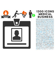 Person badge icon with 1300 medical business icons vector