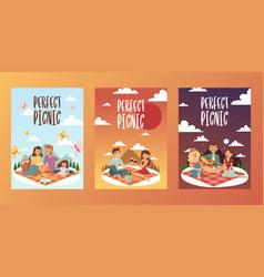 picnic happy family vector image