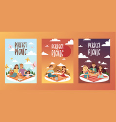 picnic happy family with vector image