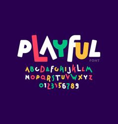 playful childish style font vector image