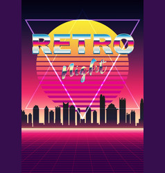 posters 80s retro sci-fi background with night vector image
