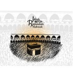 Ramadan mubarak with holy kaaba hand drawn vector