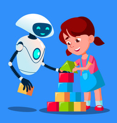 Robot baby sitter playing cubes with child vector