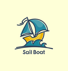 sail boat on waves cartoon icon vector image