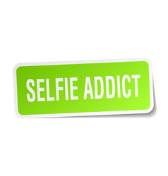 Selfie addict square sticker on white vector