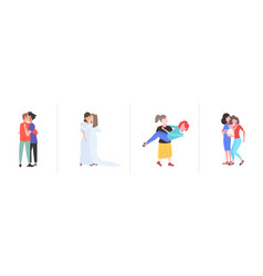 set gays lesbians couples embracing and kissing vector image