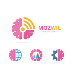 Set of brain logo combination education vector