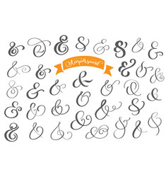 Set of decoration ampersands for letters and vector