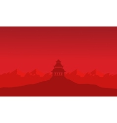 Silhouette of pavilion on mountain backgrounds vector