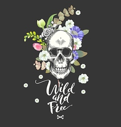smiling skull and flowers day the dead black vector image