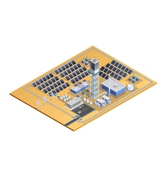 Solar Station Model Isometric Image vector