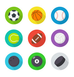 sports balls set flat cartoon balls vector image