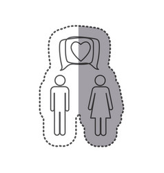 sticker silhouette pictogram male and female with vector image