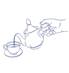 teapot pours tea into a cup vector image